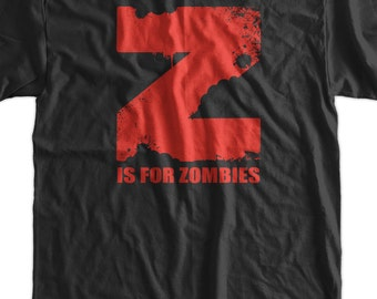 Z is for Zombies Screen Printed T-Shirt Mens Ladies Womens Funny Geek zombie outbreak