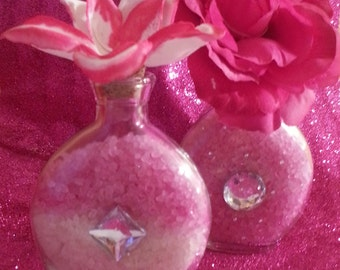 Passion Pink Bath Salts In Beautiful Refillable Jewel encrusted Glass Bottles (Set Of Two) Gift Bridal Party Favors