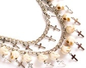 Silver chain double layer off white cream beige carved skull and cross pendant mid length punk goth edgy necklace