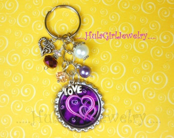 Valentine Purple Hearts Love Key Chain, Crystal, Bottle Cap KeyChain