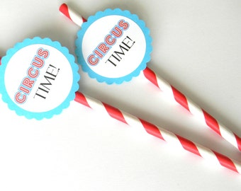 12 Circus Time Party Straws