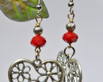 Silver Floral Hearts with red crystal Earrings, Valentine's Day, heart earrings