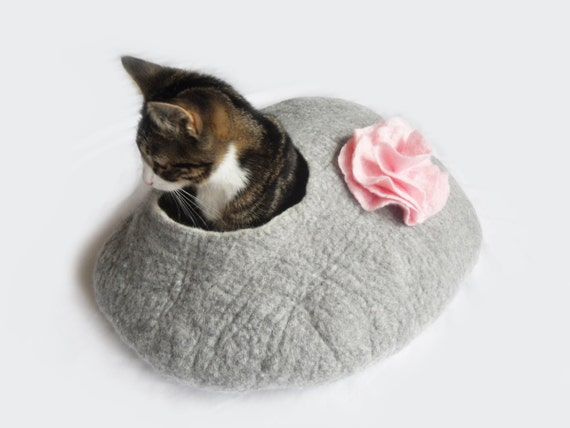 Cat Bed Cat Cave Cocoon House Felted Grey with Flower and FREE Ball