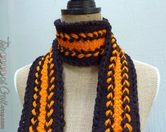 Handmade Football scarf: SF Giants Scarf and Beavers Scarf, Black, Orange for Halloween