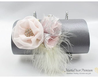 Bridal Clutch, Beaded Purse, Pink Gray Ivory Clutch, Feather Purse, Wedding Jeweled Clutch, Pink Flower Clutch, Bridesmaids Clutches