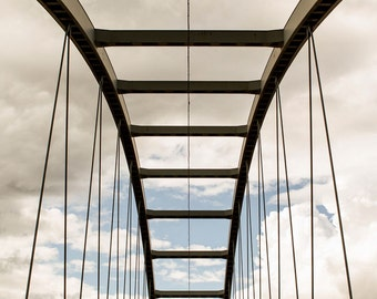 Architectural Fine Art Photograph - Details Of A Bridge And The Cloudy Sky Behind - From Northern Part of Sweden - Square Poster Print