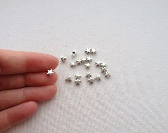 6mm Antique Silver Star Spacer Beads 20pcs
