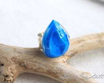 Cobalt Blue Agate Druzy Ring Silver Gold - Drusy ring - Hammered Silver Ring - Statement Ring - Stone ring - Blue Ring