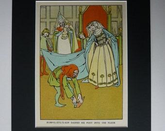 1929 Vintage Print Of The Grimm Brothers Fairytale Rumpelstiltskin - Helen Stratton - Princess - Fairy Tale - Folk - Children's Illustratio