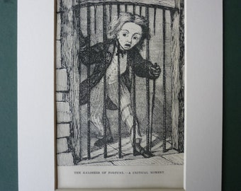 1877 Antique Print Of The Galoshes Of Fortune - Hans Christian Andersen - Victorian Prisoner - Dark Dungeon - Danish Folk Tale - Prison Art