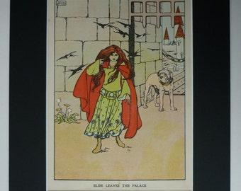 1929 Hans Christian Andersen Print - Wild Swans Fairy Tale Art - Sinister Fantasy Art Print - Elise - Dark Fairy Tale Castle - Swallow Print