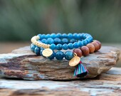 Yoga Bracelet Set, Tree of Life and Ohm Vermeil Charms, Teal Blue Apatite with Sandalwood, Multicolor Tassel, Boho Chic Bracelet Set, Trendy