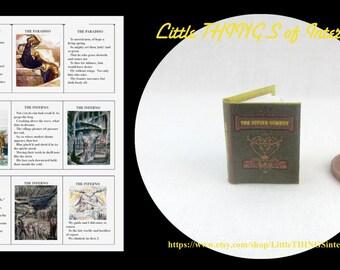Miniature Book -- DANTE'S The DIVINE Comedy Miniature Book Dollhouse 1:12 Scale Readable Illustrated Book