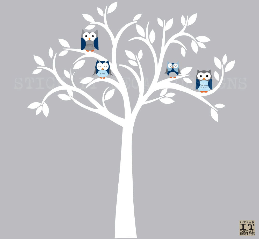 White tree wall decal owl wall decal owl tree wall sticker zoom amipublicfo Image collections