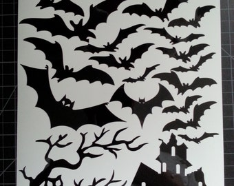 halloween window cling set of bats a tree and haunted house 8 x 115 sheet - Halloween Window Clings