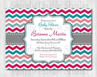 DIGITAL Pink and Blue Teal Gray CHEVRON Baby Shower or Birthday or Bridal Shower Invitation Invite Girl You Print