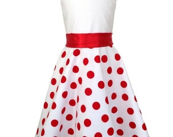 """""""Points"""" summer dress """"(size 104-134), white/red, cotton"""""""