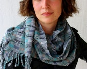 Blue-Green and Grey Geometric Check Scarf with Open Work - Hand-Woven and Hand-Dyed - Unisex - FREE SHIPPING