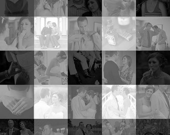 20x20 inch Large Gingham Check Photo Mosaic Collage Wall Art - Unique Decoration or Gift Created with your Digital Photos