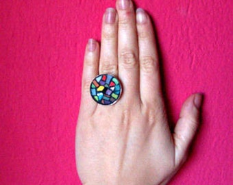 free shipping, Abstract Mosaic ring/ adjustable colorful ring/ gift for her/round stained glass jewelry