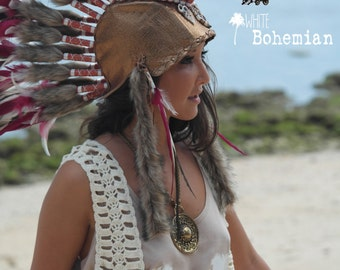 Shell Gold Metallic Leather Headpiece  Indian Inspired 'Rocker Mohawk' Natural & Burgundy Feather Costume Headdress by Paradise Gypsies