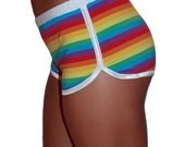80's Retro Rainbow Striped  Stretch Track Shorts - Skating, Pride, Disco, Runs, LGBT, Festival, Costume!