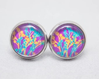 Glass Cabochon Earrings - Abstract Purple Branch Print - Silver Setting - One Pair