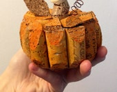 medium pumpkin made from recycled corks