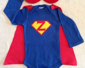 Personalized Superbaby Superhero Baby Outfit with Detachable Satin Cape and Reversible Mask, Super Hero Apparel or Costume