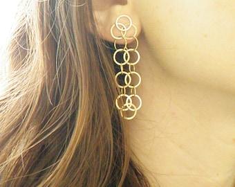 Solid 14K Yellow Gold Hanging Dangle Earrings Pierced Ears Hoops Loops Rings Chandelier Unique Earring