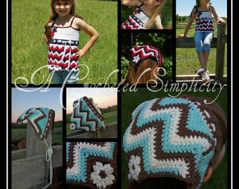 "Crochet Pattern: ""Chasing Chevrons"" Hair Kerchief / Scarf, Child & Adult Sizes, Permission to Sell Finished Items"
