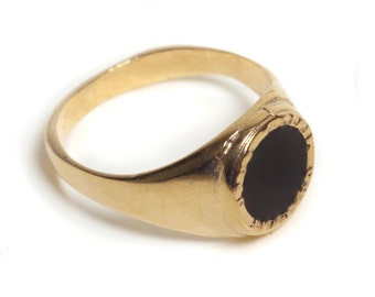 14K Gold plated Signet ring inlaid colorful enamel, 14K Gold Filled signet ring inlaid colorful enamel, seal ring