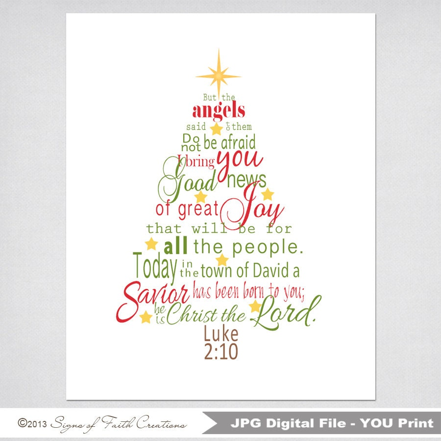 Christmas Tree Printable Scripture Art With Luke 2 Bible Verse