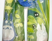 Totoro scarf - silk scarf hand painted - fan-art of Ghibili Totoro and Soot Sprites - children scarves - anime - chibi totoro
