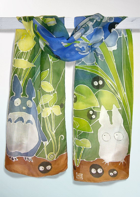 Totoro scarf - silk scarf hand painted -