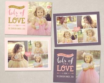 Valentine Card Template Valentines day - Sending lots of love - PSD 5x7 CVS004
