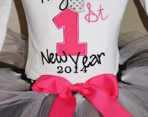 Baby GIRLS New Years Outfit 2014 /Baby First NEW YEAR'S Toddler girl/ tutu skirt/ bow/ New Year's Eve Party Outfit/ Dress up