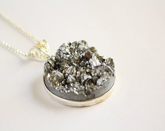 large metallic geode quartz pendant - womans handmade jewelry - valentines day - titanium crystal druzy - geode necklace - christmas gift