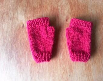 Red fingerless gloves childrens handknit wool mittens