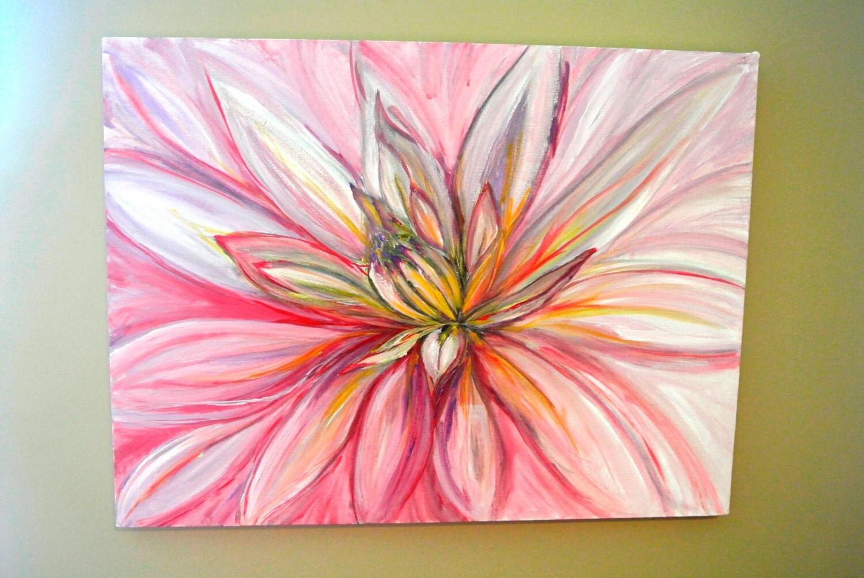 Original Acrylic Painting Bright Pink Dahlia On By