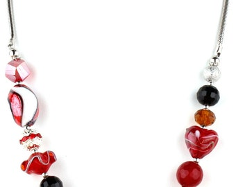 Red Beaded Murano Glass and Crystal Fashion Necklace