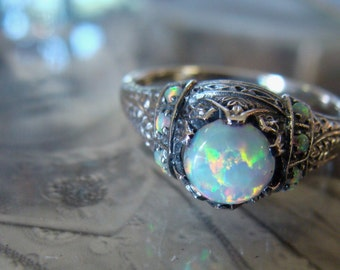 Pretty Sterling Opal Filigree  Ring  Size 4 1/2