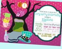 Very Merry Unbirthday Party, Alice in Wonderland Invite  - Printable - 5x7
