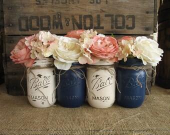Set Of 4 Pint Mason Jars Ball Painted