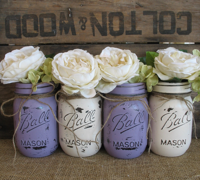 Rustic Wedding Centerpieces Mason Jars: SALE Set Of 4 Pint Mason Jars Ball Jars Painted Mason