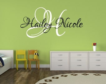 Baby Girl Nursery Decal - Monogram Name Decal - Personalized Name Decal Girls Name Decal Childrens Wall Decal