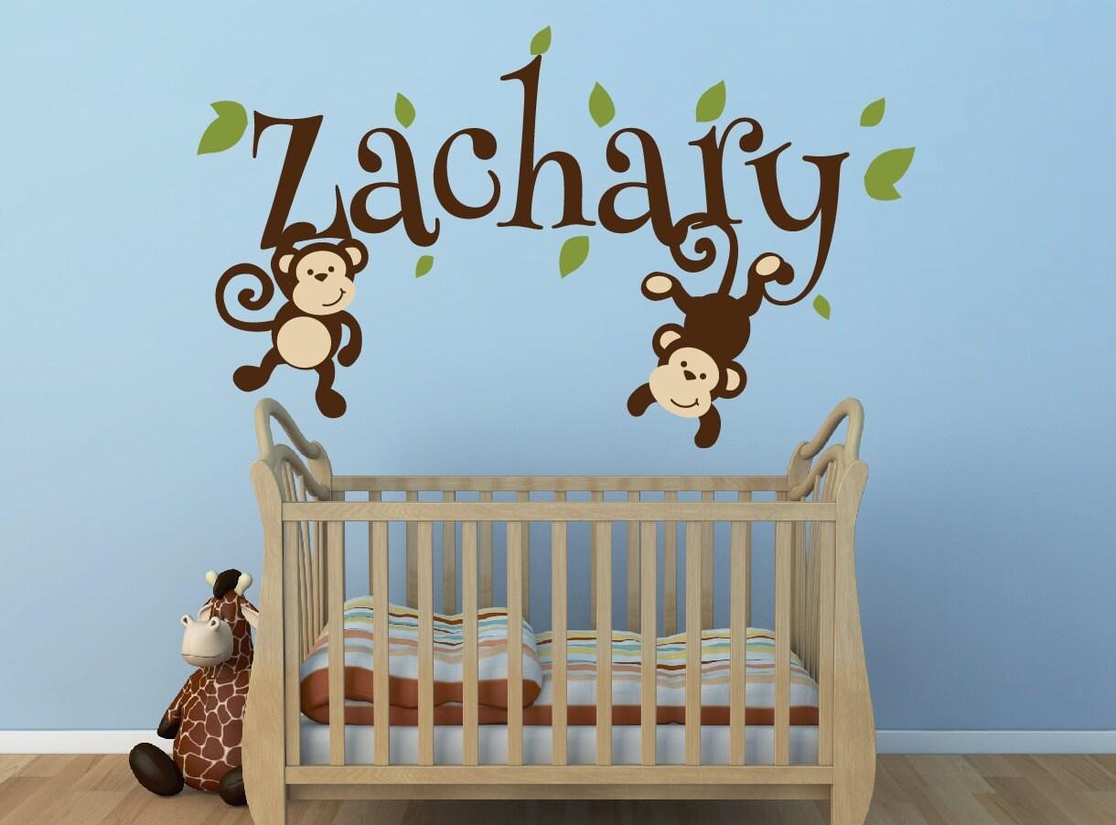 boys monkey name decal monkey decal swinging monkey decal. Black Bedroom Furniture Sets. Home Design Ideas