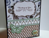 Thinking of You - Greeting Card, Light Green, Blue, Brown with Butterfly, Button
