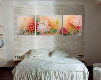 """Batik triptych, Painting on silk   """"Charm peonies"""" Made to order."""