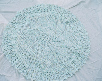 green and blue spiral baby afghan